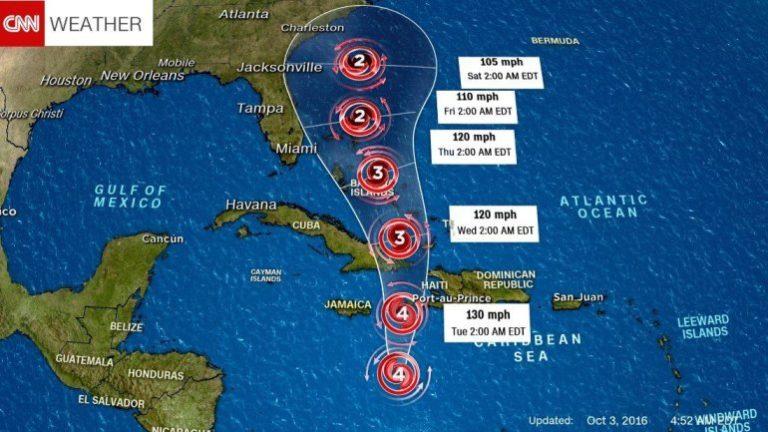 hurricane matthew path over haiti